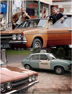 A couple of publicity shots showing the cars used in ther series.  Up top is the Ford Cortina 200E and below is teh Austin Allegro police car